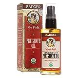 Badger - Pre-Shave Oil, Extra Virgin Olive Oil & Baobab Oil, Certified Organic Shaving Oil for Razor Burn, Pre Shave Oil for Men, Shaving Oil for Men, Preshave Oil, 2 fl oz Glass Bottle