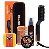 Tame's Easy Glide Beard Straightener Essentials Kit - Anti Scald Beard Straightening Comb, Heat Protection Spray, Beard Soap, Beard Balm, Detangle Comb, and Storage Case - Ultimate Beard Grooming Kit
