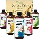 Carrier Oils For Essential Oil - 5 Pack Gift Set Coconut Oil Castor Oil Grapeseed Oil Avocado Oil & Sweet Almond Best Oils for Stretch Mark Dry Skin Hair Body Massage Packaging May vary
