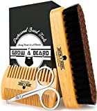 Beard Brush for Men & Beard Comb Set w/ Mustache Scissors Grooming Kit, Natural Boar Bristle Brush, Dual Action Wood Comb, and Travel Bag Great for Christmas Gift