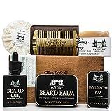 Maison Lambert Ultimate Beard Kit Contains: Organic Beard Balm, Organic Mustache Wax, Organic Beard Oil, Organic Beard Shampoo, Wood Beard Comb and an Organic Body Soap. (Pack in a cigar box)