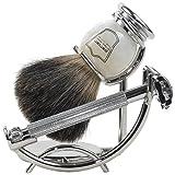 Parker 29L Safety Razor Shave Set - Includes Black Badger Brush, Stand & Parker 29L Butterfly Open Safety Razor
