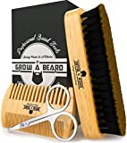 Beard Brush & Beard Comb Set w/ Beard Scissors Grooming Kit, Beard Brush For Men, Natural Boar Bristle Beard Brush, Men's Beard Brush, Boars Hair Beard Brush, Wood Comb Great for Mustaches
