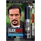 Blackbeard for Men Formula X Instant Mustache, Beard, Eyebrow and Sideburns Color - Fast, Easy, Men's Grooming, Beard Dye Alternative, Black, 1 Pack