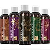 Pure Carrier Oils for Essential Oils - DIY Skin Care Set with Hair Oils Skin Oils for Body Care Moisturizers for Face and Body plus Nail Care - Anti Aging Skin Care DIY Beauty Products Carrier Oil Set