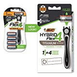 BIC Flex 4 Sensitive Hybrid Men's 4-Blade Disposable Razor, 4 Cartridges and 1 Handle, Protects Skin from Irritation