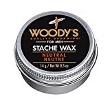 Woody's Neutral Stache Wax, Quality Grooming for Men, Moisturizing, Adds Volume and Holds Firm, for Moustache, Sideburns and Beard, Contains Beeswax and Castor Oil, for All Skin Types, 0.5 oz.