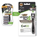 BIC Flex 4 Sensitive Hybrid Men's 4-Blade Disposable Razor, 1 Count