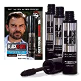 Blackbeard for Men Formula X Instant Mustache, Beard, Eyebrow and Sideburns Color - Fast, Easy, Men's Grooming, Beard Dye Alternative, Dark Brown, 3 Pack