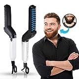 Electric Hair Beard Straightener Brush - Men Professional Quick Beard Straightener Styler Curly Frizz Hair Straightening Comb Side Hair Detangling Portable Ceramic Ionic Heating Control